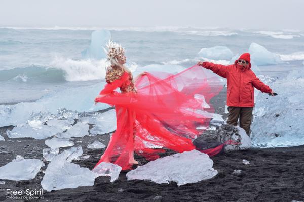 plage de diamants projet The Essence of Life créé par Free Spirit project - en Islande - campagne de sensibilisation sur le réchauffement climatique et la fonte des glaciers